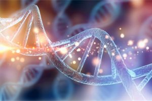 Three-dimensional illustration of genetics molecule that could affect oral health