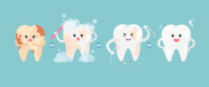 illustration of cute tooth characters cleaning stains